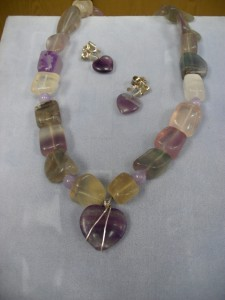These are large nugget multi-color Fluorite beads with amethysts