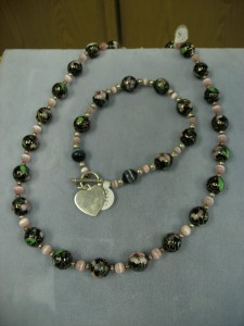 1252-  Black Cloisonné and pink catseye  sterling silver bead necklace and bracelet set with an engravable heart.  This one can be personalized.